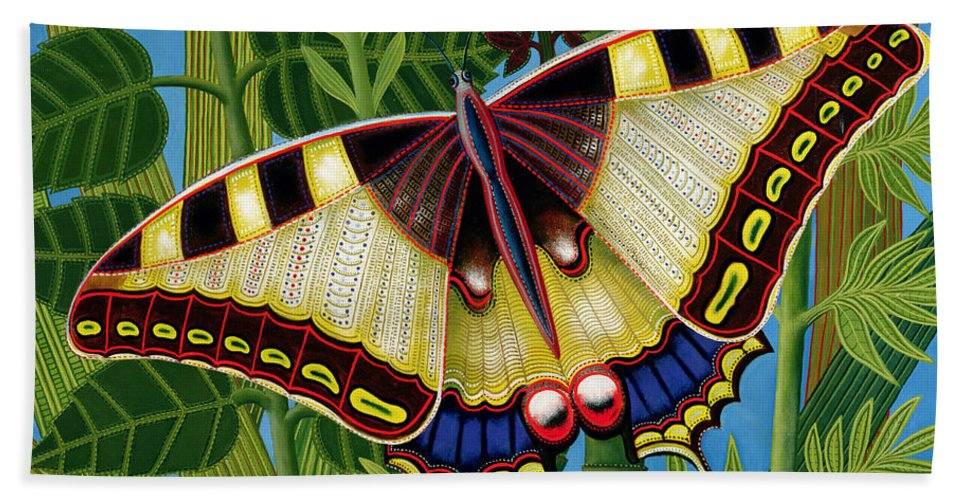 Foliage Hand Towel featuring the painting Butterfly by Tamas Galambos