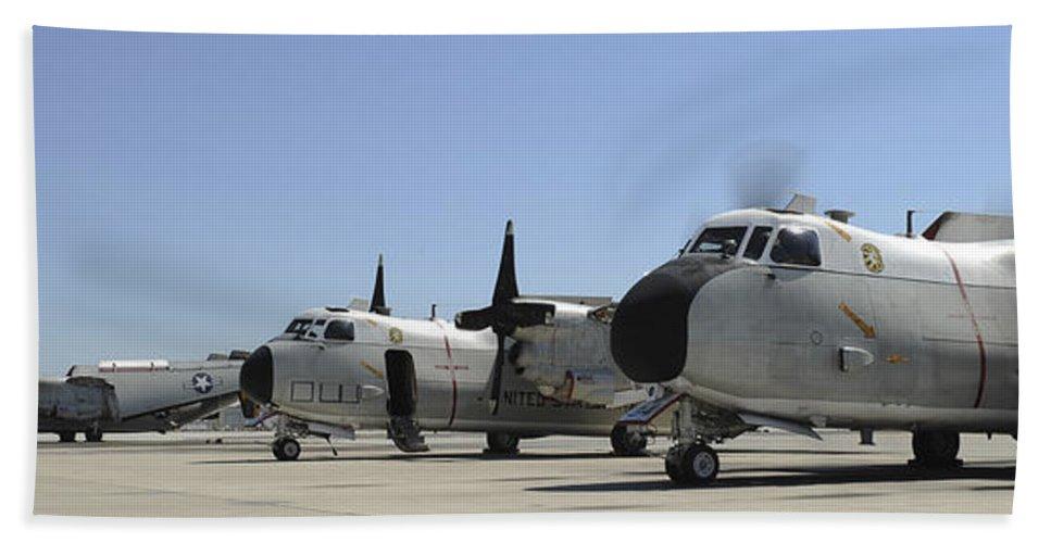 San Diego Bath Sheet featuring the photograph C-2a Greyhound Aircraft Start by Stocktrek Images