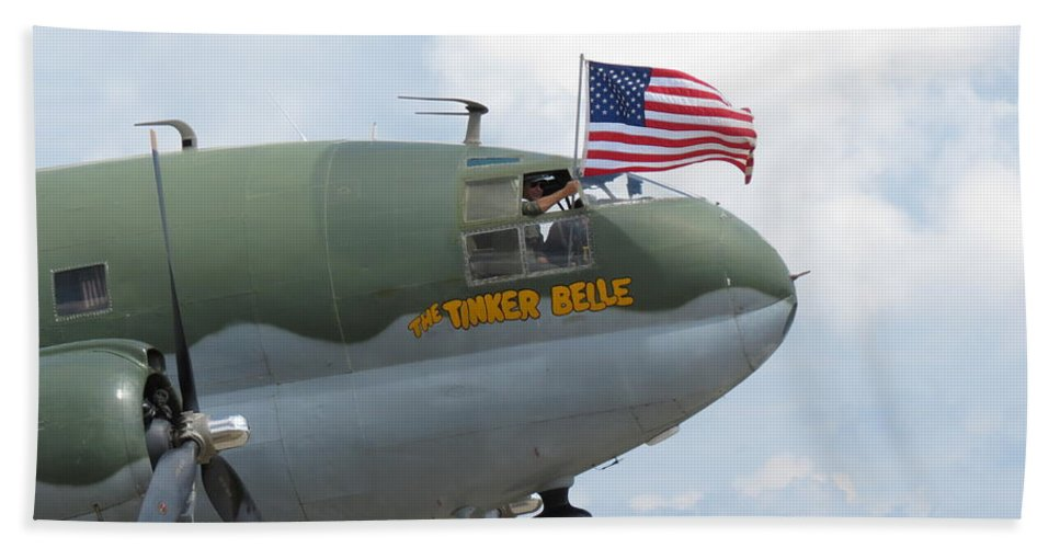 Aimee Mouw Bath Sheet featuring the photograph C-46 Tinker Belle Honors American Heros by Aimee Mouw