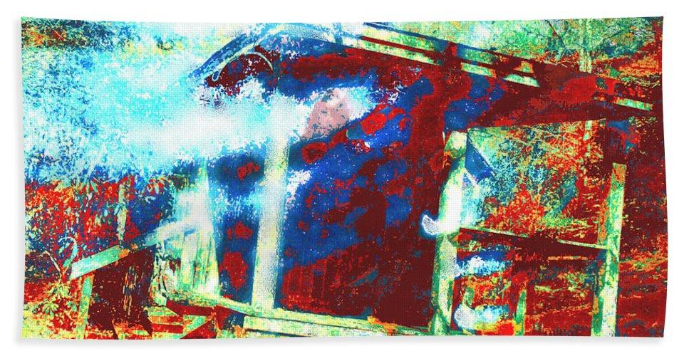 Cabin In The Fog Bath Sheet featuring the digital art Cabin In The Fog by Seth Weaver