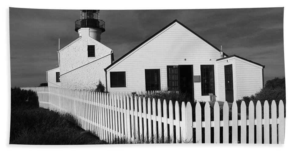 Cabrillio Bath Sheet featuring the photograph Cabrillio Lighthouse by Mike Nellums