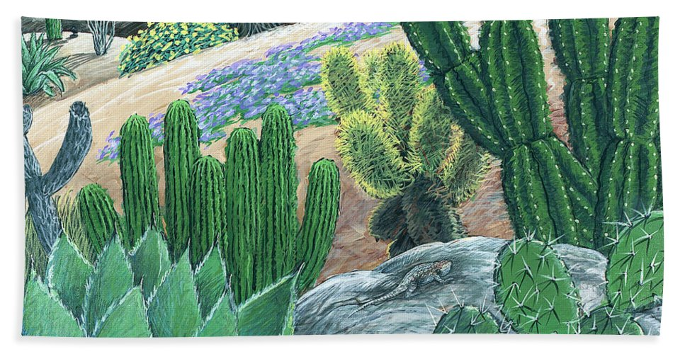 Cactus Bath Sheet featuring the painting Cactus Garden by Snake Jagger