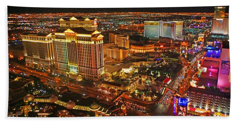 Las Vegas Bath Sheet featuring the photograph Caesars Palace On The Strip by Randy Harris