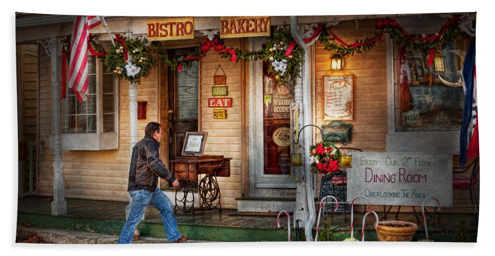 Clinton Bath Sheet featuring the photograph Cafe - Clinton Nj - Bistro Bakery by Mike Savad