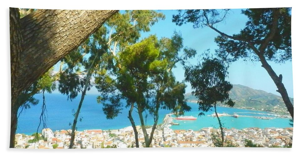 Zakynthos Bath Sheet featuring the photograph Cafe Terrace At Bohali Overlooking Zante Town by Ana Maria Edulescu