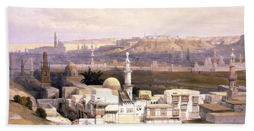 Cairo Hand Towel featuring the photograph Cairo From The Gate Of Citizenib Looking Toward The Desert Of Suez by Munir Alawi