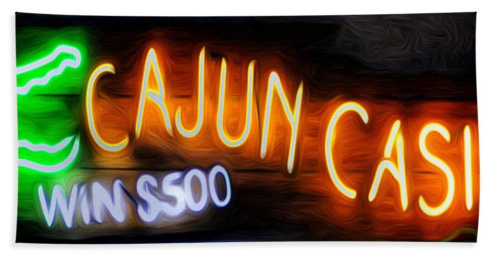 Cajun Casino - Bourbon Street Hand Towel featuring the photograph Cajun Casino - Bourbon Street by Bill Cannon