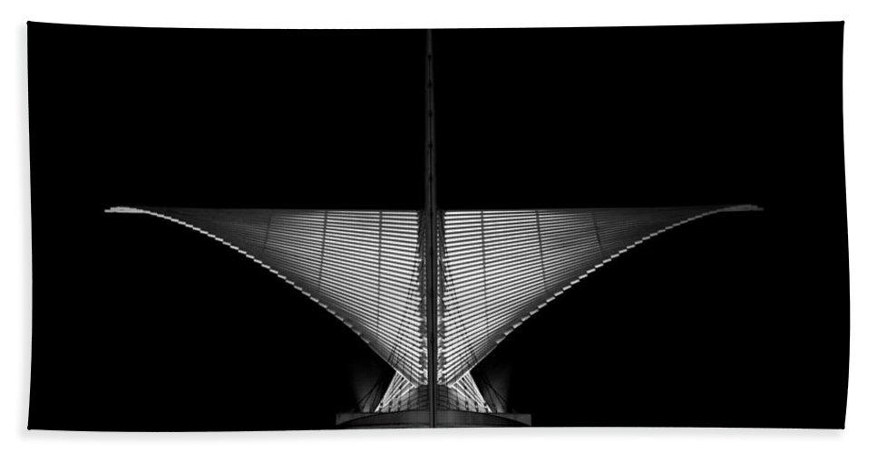 Hand Towel featuring the photograph Calatrava Dusk - B And W by CJ Schmit