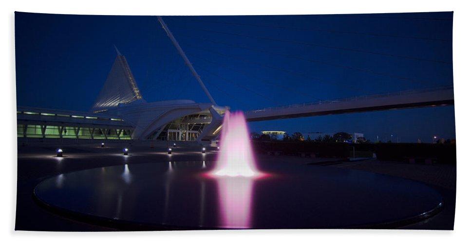 Water Fountain Photographs Bath Sheet featuring the photograph Calatrava's Pink Fountain by Jonah Anderson