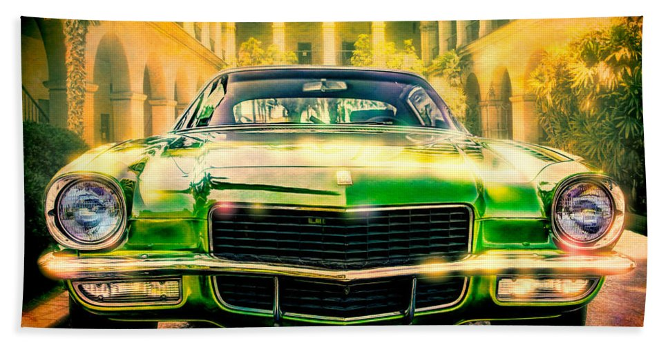Automobile Bath Sheet featuring the photograph California 1970 Camaro by Chris Lord