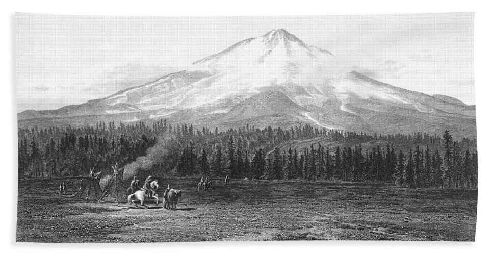 1873 Hand Towel featuring the photograph California: Mount Shasta by Granger