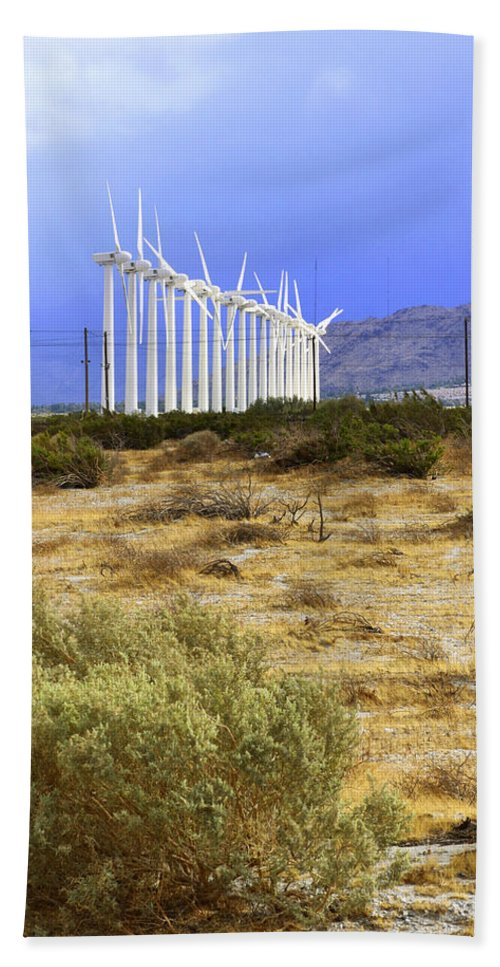 Windmills Bath Sheet featuring the photograph Calm Wind Palm Springs by William Dey