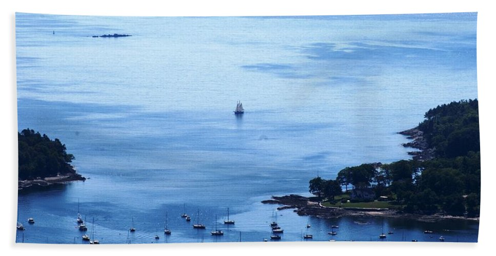 Camden Bath Sheet featuring the photograph Camden Harbor by Joe Faherty