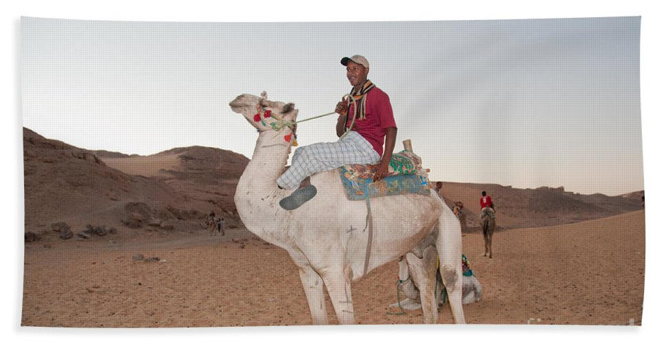 Egypt Aswan Hand Towel featuring the digital art Camel Riders by Carol Ailles