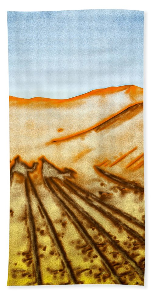 Afternoon Hand Towel featuring the photograph Camel Shadows by Tom Gowanlock