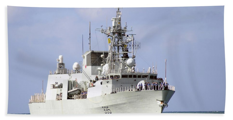 Hmcs Calgary Hand Towel featuring the photograph Canadian Navy Halifax-class Frigate by Stocktrek Images