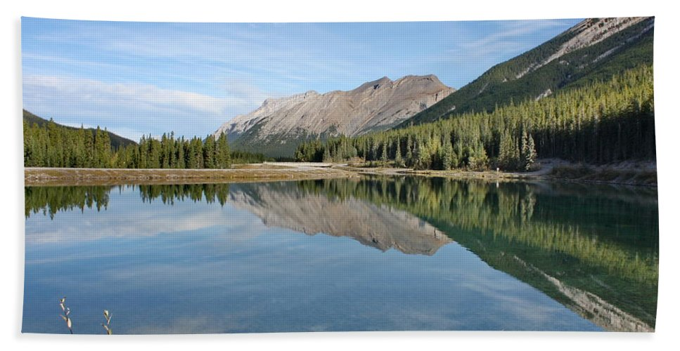 Mountains Bath Sheet featuring the photograph Canadian Rockies Rocky Mountain Lake by Terry Fleckney