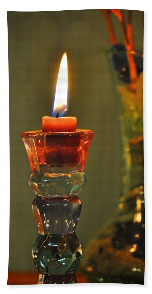 Candle Bath Sheet featuring the photograph Candle And Colored Glass by Christine Stonebridge