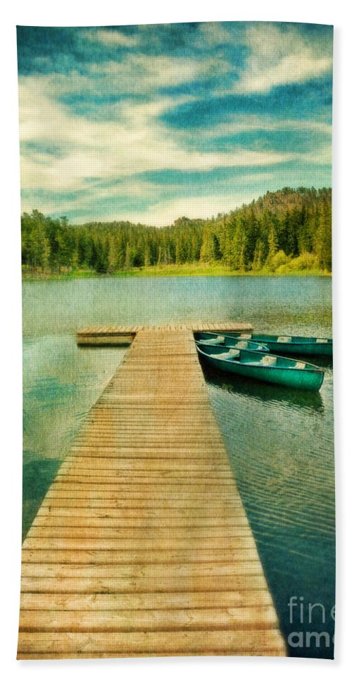 Canoe Hand Towel featuring the photograph Canoes At The End Of The Dock by Jill Battaglia