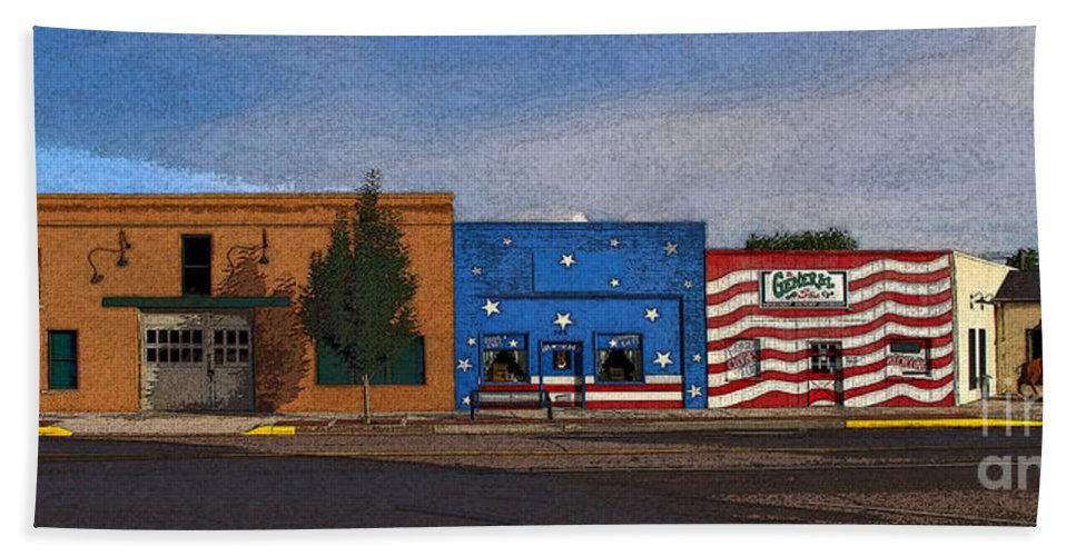 Colorado Hand Towel featuring the photograph Canon City Facades - Posterized by Rich Walter
