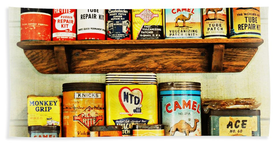 Antique Cans Hand Towel featuring the photograph Cans Of Old by Marty Koch