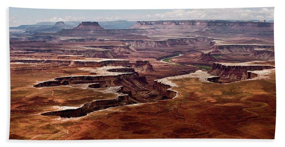 Desert Bath Sheet featuring the photograph Canyon Lands by Karen Ulvestad