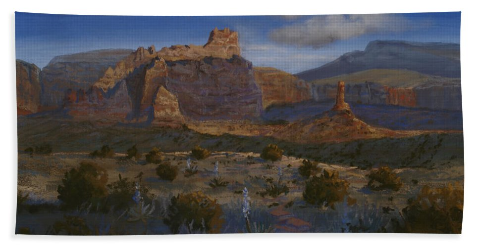Landscape Bath Towel featuring the painting Canyon Light by Heather Coen
