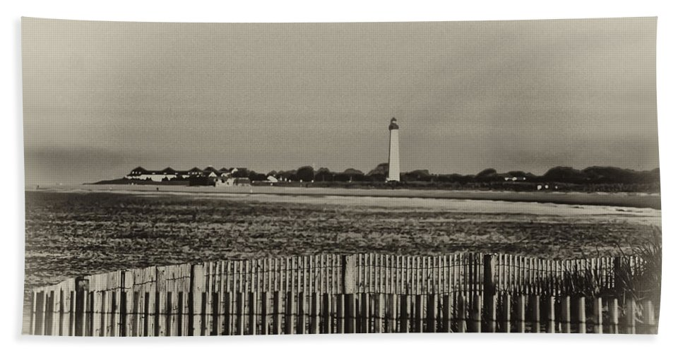 Cape May Bath Sheet featuring the photograph Cape May Light House In Sepia by Bill Cannon