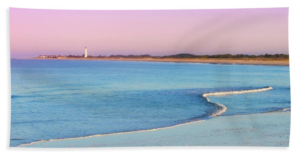 Cape May Hand Towel featuring the photograph Cape May Light House Panorama by Bill Cannon