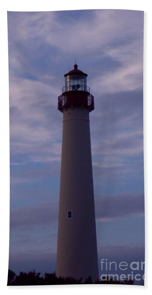 Cape May Lighthouse Bath Sheet featuring the photograph Cape May Lighthouse At Dusk by Nancy Patterson