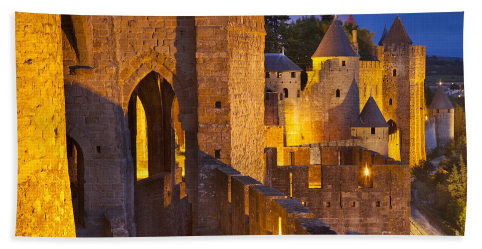 Architecture Bath Sheet featuring the photograph Carcassonne Ramparts by Brian Jannsen