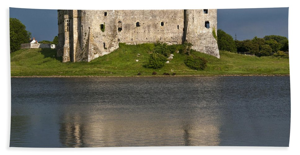 Carew Castle Bath Sheet featuring the photograph Carew Castle Reflections by Steve Purnell