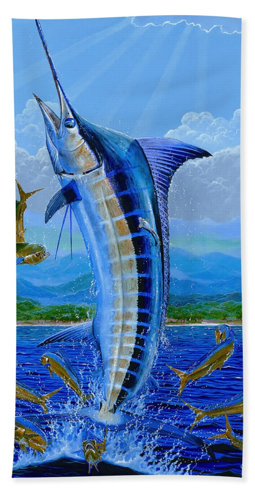 Marlin Bath Sheet featuring the painting Caribbean Blue by Carey Chen