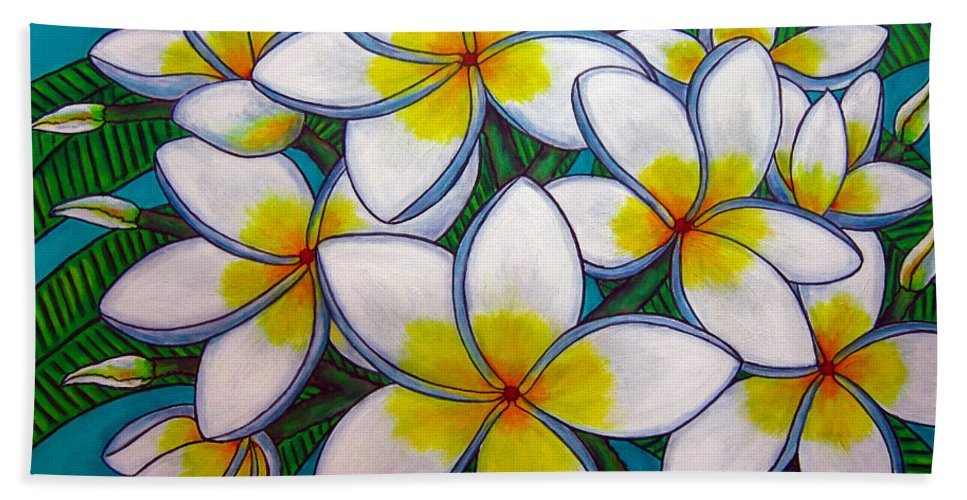 Frangipani Hand Towel featuring the painting Caribbean Gems by Lisa Lorenz