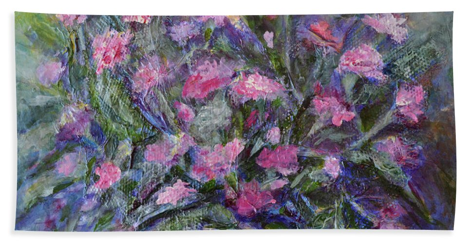 Carnations Bath Sheet featuring the painting Carnations by Claire Bull