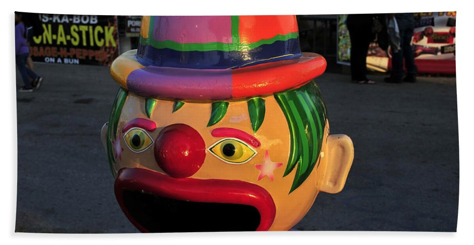Fine Art Photography Bath Sheet featuring the photograph Carnival Clown by David Lee Thompson
