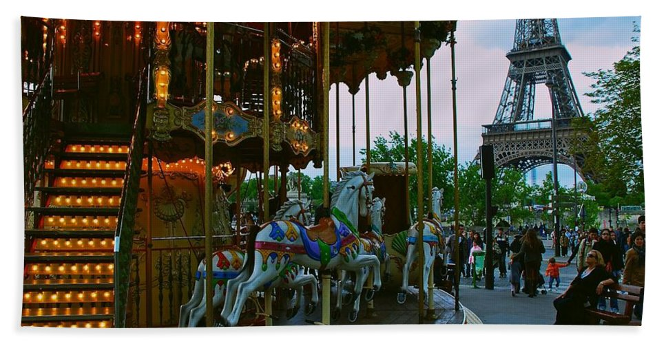 Paris Bath Sheet featuring the photograph Carousel And Eiffel Tower by Eric Tressler