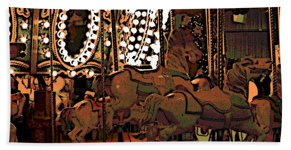 Carousel Hand Towel featuring the photograph Carousel At Night by George Pedro