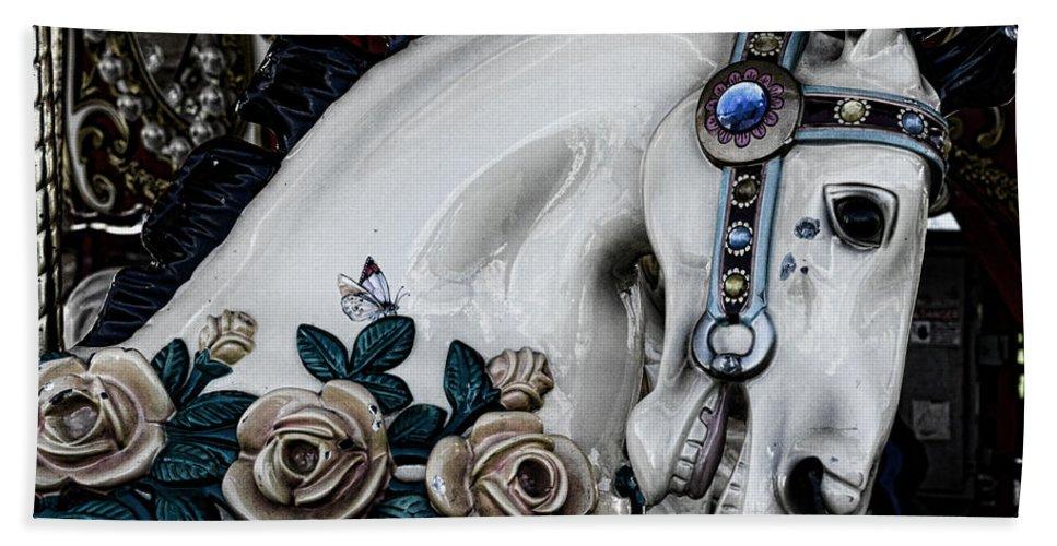Dark Horse Bath Sheet featuring the photograph Carousel Horse - 8 by Paul Ward