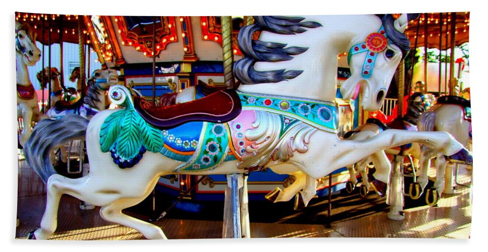 Carousel Horse Bath Sheet featuring the photograph Carousel Horse With Leaves by Mary Deal