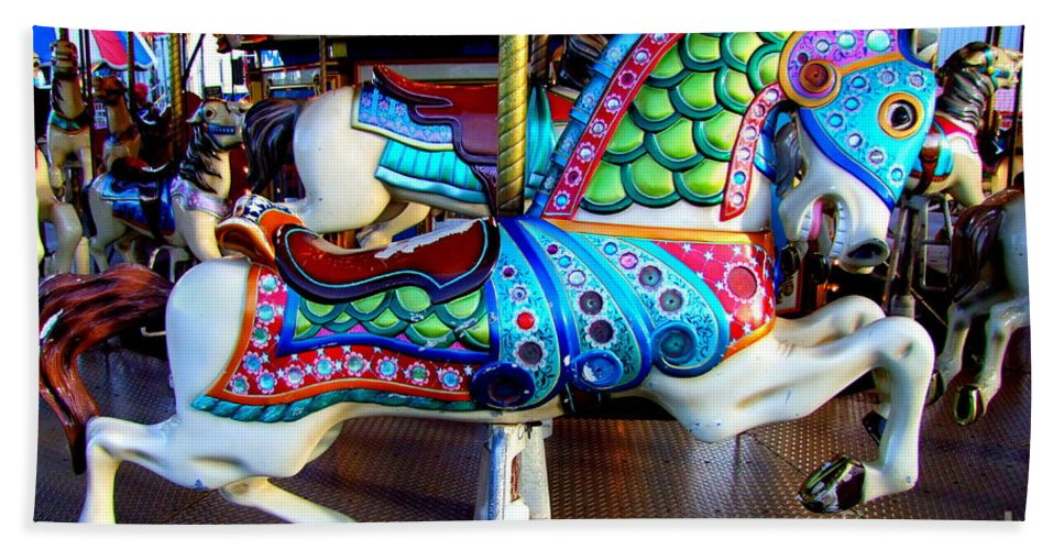 Carousel Horse Bath Sheet featuring the photograph Carousel Horse With Sea Motif by Mary Deal