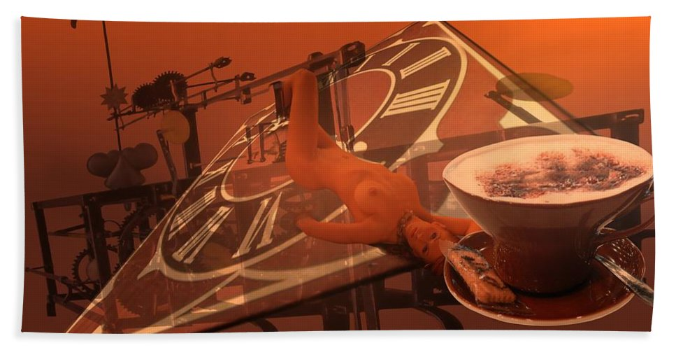 Carpe Hand Towel featuring the digital art CarpeCappuccino by Helmut Rottler