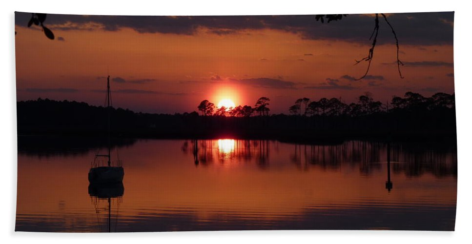 Sunset Bath Sheet featuring the photograph Carrabelle Sunset by Carla Parris