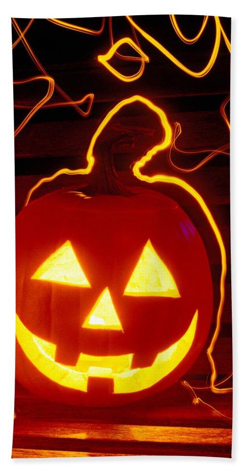 Pumpkin Bath Sheet featuring the photograph Carved Pumpkin Smiling by Garry Gay