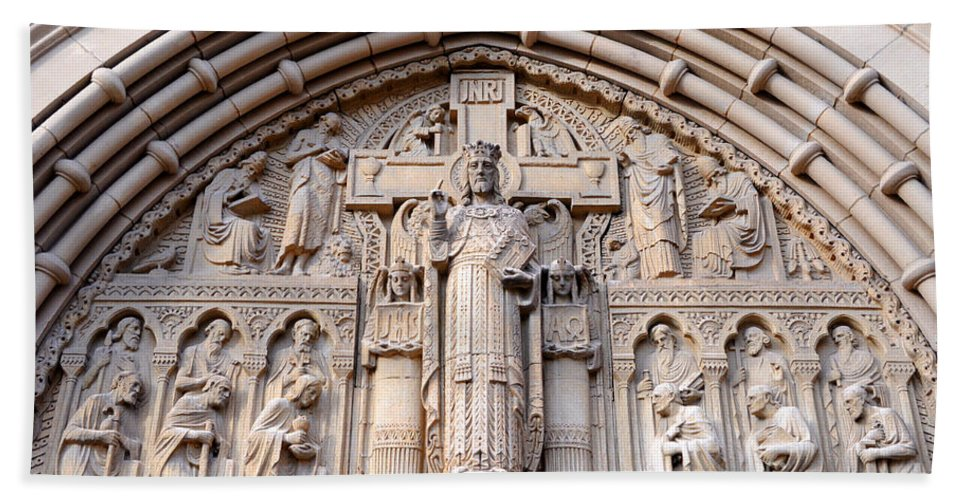 Carved Bath Sheet featuring the photograph Carved Stone Biblical Mural Above Catholic Cathedral Doorway by Gary Whitton