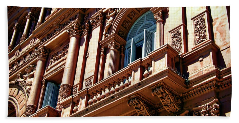 Architecture Hand Towel featuring the photograph Casa Rosada by Joan Minchak
