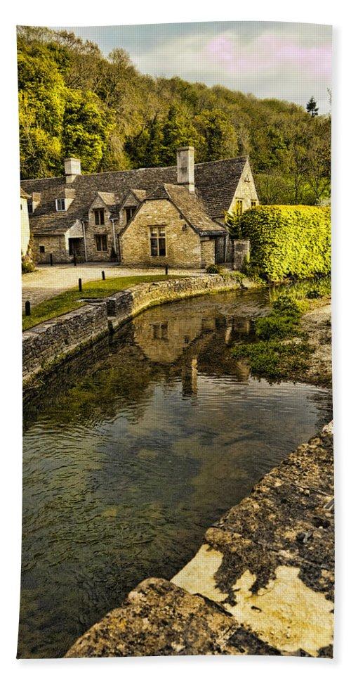 Castle Combe Bath Sheet featuring the photograph Castle Combe Bridgeside by Jon Berghoff