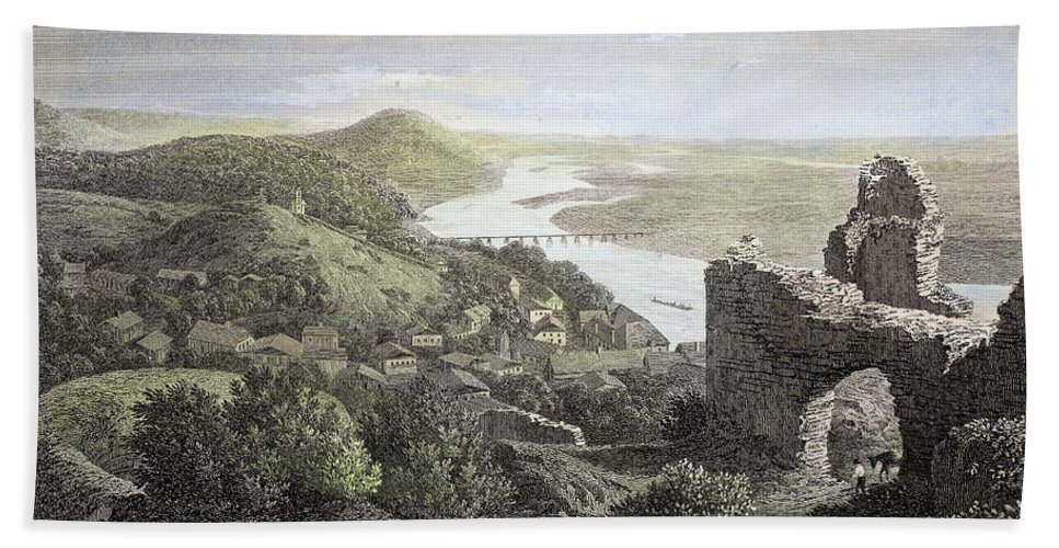 1823 Hand Towel featuring the photograph Castle Donaustauf, 1823 by Granger