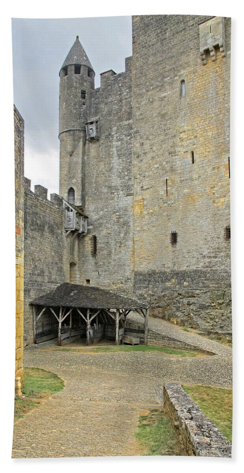 Castle Hand Towel featuring the photograph Castle Interior Ground France by Dave Mills