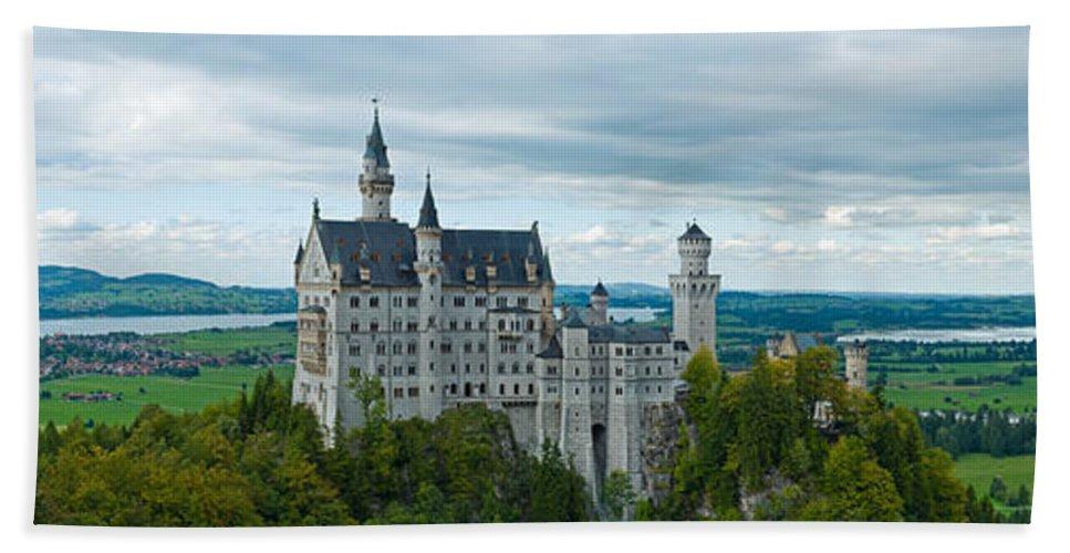 Ancient Bath Sheet featuring the photograph Castle Neuschwanstein With Surrounding Landscape by U Schade
